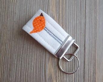 Key chain key fob with orange bird, bird key chain, mini key fob, fabric key chain with bird
