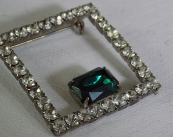 Vintage brooch,square brooch with clear and emerald green crystals, retro jewelry