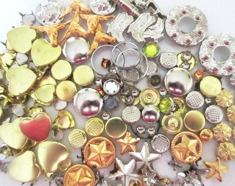 175 Gold and Silver Studs Vintage Embellishment Lot Stars, Hearts, Western, Dome