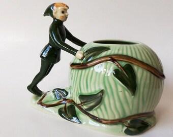 Jack and the Beanstalk Planter L Batlin & Son Vintage 30's  Pixie/Elf