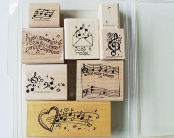 Set of 8 Rubber Stamps Stampin' Up Music Speaks Plus One