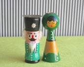 Vintage  Folk Art Handpainted Figurines Dolls Candle Holder