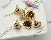 2 pcs 10mm 24K Gold Plated Brass Charm flower Pendant Spacer,Charms Jewelry Findings,metal brass spacers findings beads