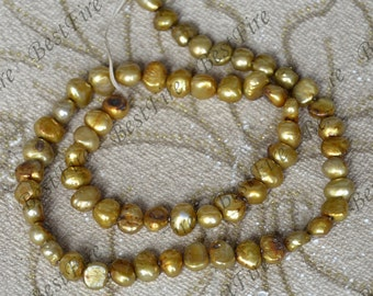 7mm Coffee Flat Freshwater Cultured Pearl Gemstone Beads ,Real Pearl Freshwater Cultured pearl Jewelry 14inch