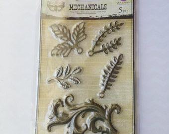Prima Marketing Mechanicals 5 pc Large Metal Embellishments Mixed Media Flourish Leaves Fall