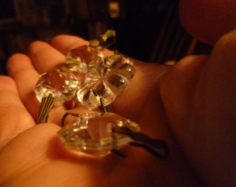 SALE!!! RECLAIMED VINTAGE Chandelier Crystals Set of 17 Various Sizes