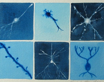 Blue Neurons  - original watercolor of brain cells