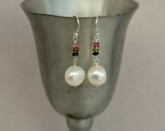 Large Pearl Earrings, Rainbow Tourmaline, Jumbo Pearl Sterling Silver Earrings