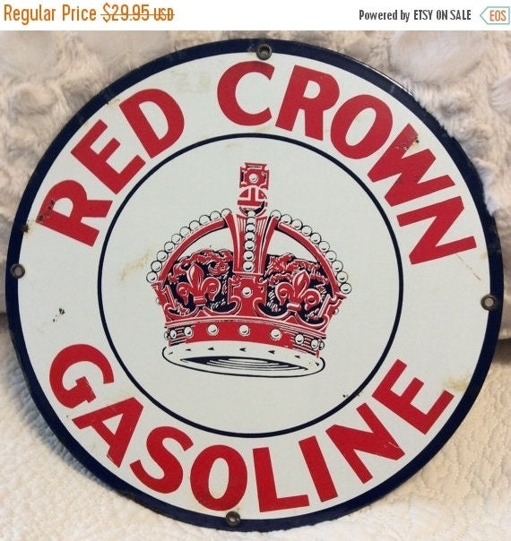Red Crown Gasoline Tin Metal Sign