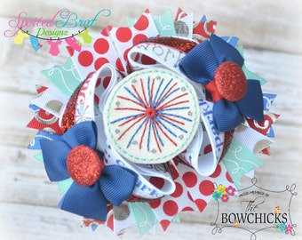 Firework OTT Hairbow, Perfect for July 4th, Stacked Bow, Patriotic,  Ready to ship