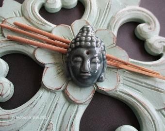 Blue Green Buddha Head Ceramic Incense Stick Holder