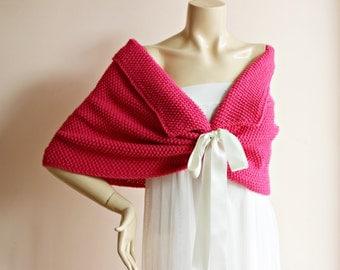 Pink Bridal Capelet / Magenta Pink Wedding Wrap Shrug Bolero/Hand Knit  Shawl/ Scarf -Pink Shoulder Cover -Ready to ship-Vegan Scarf