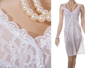 XL plus size 'Goldengel' sheer silky soft white nylon and delicate sheer lace bodice and hem detail 1960's vintage full slip - PL1373