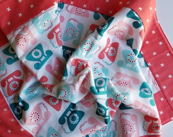 Teal and pink telephone baby blanket, fleece play mat, fleece baby blanket