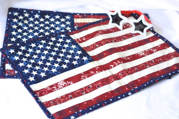 Patriotic Decoration, Place Mats, Set of 2, Lovely Memorial Day Table Decor, Red White and Blue Table Topper, Patriotic  Mug Rug