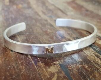 Personalized Womens Initial Bracelet Womens Personalized Gift Initial Jewelry Custom Bracelet Sterling Silver Cuff 14K Gold Initial Bracelet