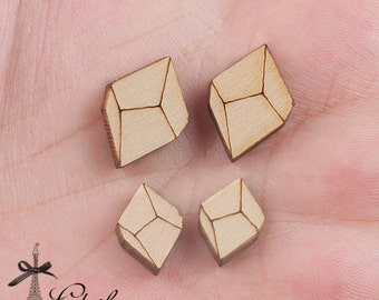 4Pcs DIY Laser Cut Wood Cute Geometric Charms / Pendants  (WP-C-7.8)