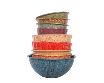 Set of 9 Confetti Mixing Bowls - Boonton - Brookparks - Melamine - Melmac