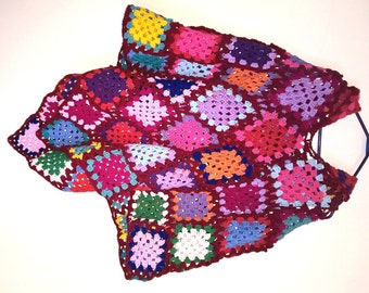 NEW handmade multi-coloured funky one-of-a-kind hooded poncho