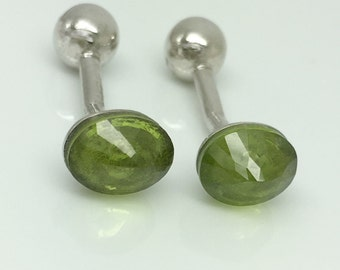 Vitality green peridot cufflinks, wedding cufflinks, groom cufflinks, August faceted peridot birthstone gemstone, genuine peridot gemstone