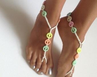 Barefoot Sandals, wedding , Bikini , Women , Beach , Bridal Shoes , Bridal Sandals , Bridal Jewelry ,shoes , READY TO SHIP