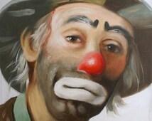 Emmett Kelly Jr. circus clown, autographed 24x20 (61 x 51 cm) oil painting by artist RUSTY RUST / 14257