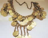 Vintage Egyptian Necklace - Bib Coin Necklace - Gold Toned - Ethnic Jewelry - Middle East Jewerly - Belly Dance Jewelry
