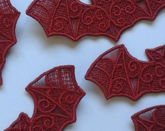 Special Offer: UK Set of 6 gothic lace bat applique, trimming, choker centerpiece, cuff, red/black/purple/white