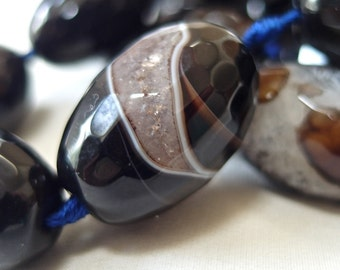 6 large Black Ice Agate Barrel Beads, avg. 30mm x 20mm, 6 beads