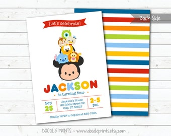 Tsum Tsum Mickey Mouse Birthday Party Invitation, Disney Tsum Tsum Inspired Invitation, Customized Printable Invitation Party, 5x7 or 4x6""