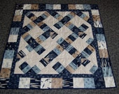 Hearty Good Wishes Lap Quilt, Baby Quilt, Hand Quilted