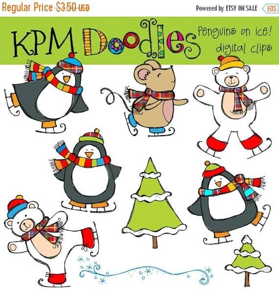 ON SALE KPM Penguins on ice Digital Clip art