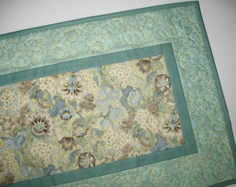 Elegant Table Runner, Green Blue Taupe, Gold Metallic focus fabric Robert Kaufman by Peggy Toole