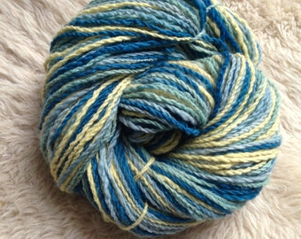 Organic Merino Natural Dyed Handspun Self Striping Yarn in Indigo, Yellow, and Seafoam Green