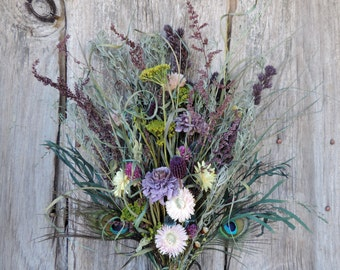 Peacock Feather Bouquet and Dried Flowers Pods Grasses Strawflowers Cedar Roses Lavender Floral Arrangement Wayside Flowers Blue Green