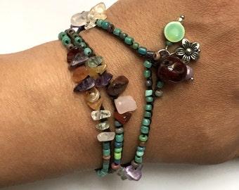 Sea glass chip bead crochet wrap bracelet, bohemian jewelry, crochet jewelry, summer fashion, coffycrochet, gift for her, gift under 30