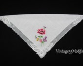 Handkerchief Lace Petit Point Flower Embroidered