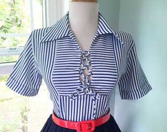 Flirty Navy Blue & White Striped Vintage 1950s 1960s Atomic Short Sleeve Corset Lace Up Blouse w Ascot Tie Neck