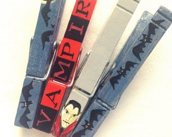 VAMPIRE BLOOD painted magnetic clothespin set bats dripping blood