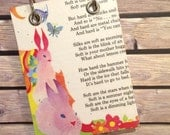 Recycled  Notebook - Large Refillable Notepad - Upcycled Children's Book - Pink Rabbits and Flowers