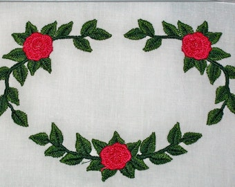 Red Rose swag floral Embroidered Quilt Label to customize with your personal message