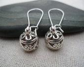 Silver Boho Dangle Earrings - Bohemian Drop Earrings - Simple Everyday Silver Earrings -
