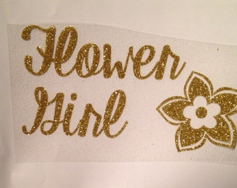 FLOWER GIRL iron-on decal