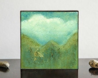 Landscape Painting: 4x4 Original Mixed Media Art, Minimalist Art, Original Art, Impressionist Art, green, turquoise, teal, Mountain Painting