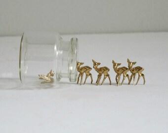 Mini Reindeer Deer Microscopic, Plastic Kitsch Deer Putz Supply, Gold Reindeer Deer Diorama Holiday Village Craft Assemblage Supplies