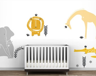 Yellow Royal Safari Wall Decal Mural by LittleLion Studio. Yellow and Grey Gender Neutral Braby Room Wall Decor.