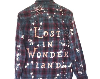 Lost in Wonderland Shirt in Grey Plaid Flannel. Burgundy dye black magic Alice Disney hipster grunge fantasy tees graphic ooak unisex quote