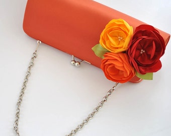 FALL Wedding - Burnt orange_Bright Red_Orange_Dandelion Yellow - Custom clutch - Wedding clutch - Large clutch