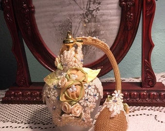 """Vintage Perfume Atomizer Victorian Style Ribbon Roses Pearls & Bling """"As Found"""""""
