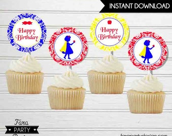 Snow White Birthday Party- Printable Cupcakes Toppers by Fara Party Design   Snow White Silhouette   Happy Birthday Toppers